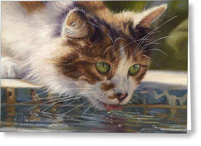 Domestic Cat Greeting Cards - Quenching Her Thirst Greeting Card by Lucie Bilodeau