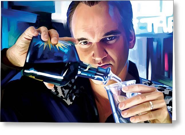 Screenwriter Greeting Cards - Quentin Tarantino Artwork 1 Greeting Card by Sheraz A