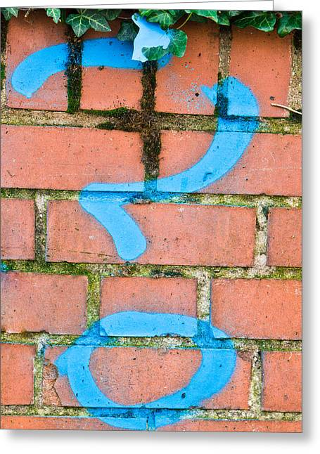 Signature Photographs Greeting Cards - Question mark Greeting Card by Tom Gowanlock