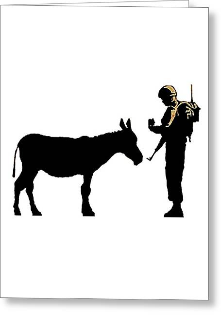Politics Prints Digital Art Greeting Cards - Questioning a Donkey Greeting Card by Munir Alawi