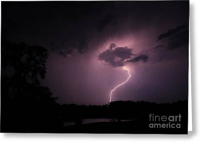 Stormy Night Greeting Cards - Questioning The Thunderstorm Greeting Card by Reid Callaway