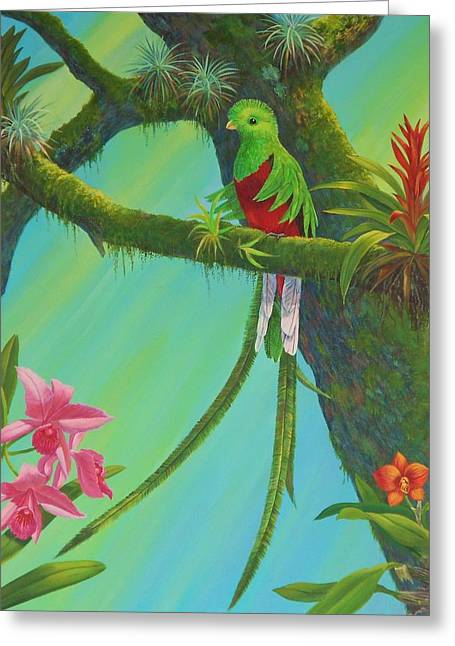 Bromeliad Paintings Greeting Cards - Quetzal Greeting Card by Bonnie Golden