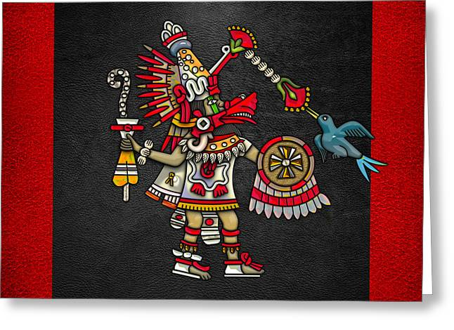 Mesoamerica Greeting Cards - Quetzalcoatl in human warrior form - Codex Magliabechiano Greeting Card by Serge Averbukh
