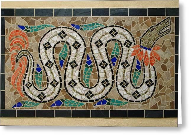 Reptiles Ceramics Greeting Cards - Quetzalcoatl Greeting Card by Jeff  Sartain