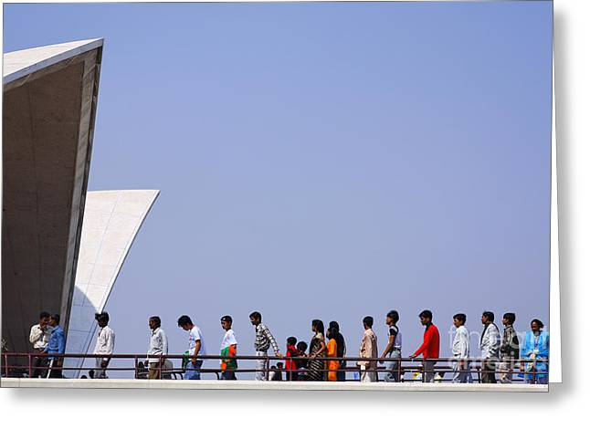 Bahai Greeting Cards - Queue for the Lotus Temple in Delhi Greeting Card by Robert Preston