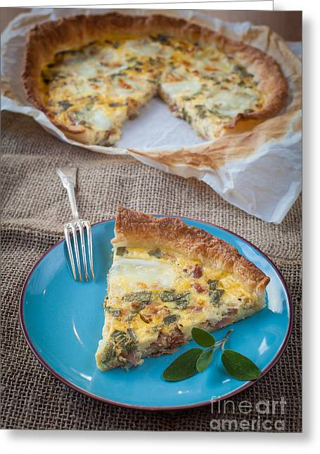 Cheese Cake Greeting Cards - Quiche with ham and sage Greeting Card by Sabino Parente