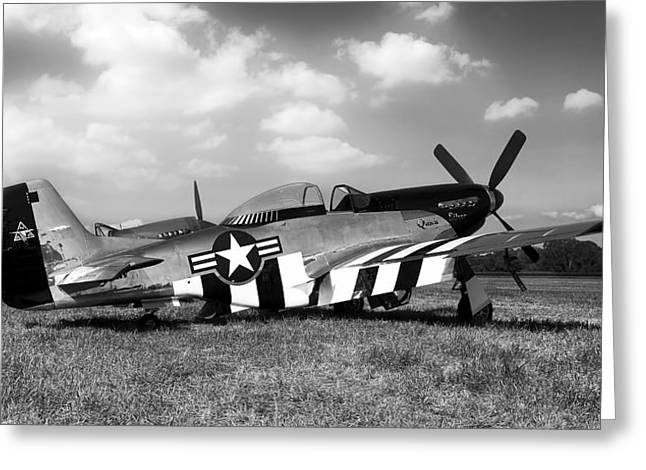 Vintage Air Planes Greeting Cards - Quick Silver P-51 Mustang Greeting Card by Peter Chilelli