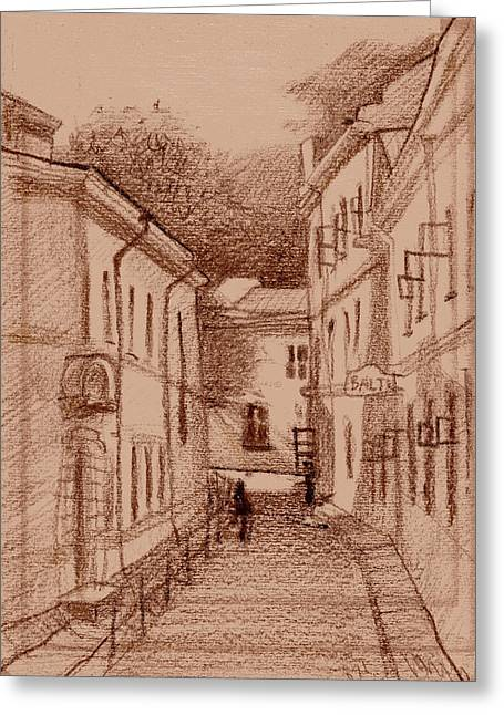 Tallinn Drawings Greeting Cards - Quick Sketch Greeting Card by Serge Yudin