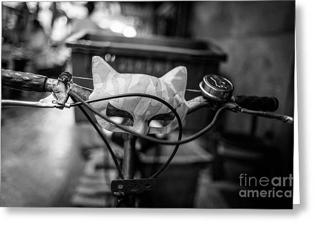 Handle Bar Greeting Cards - Quick to the Catmobile Greeting Card by Dean Harte