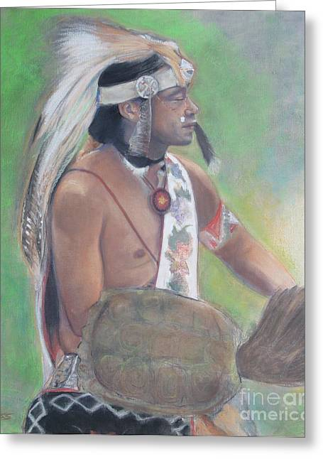 Native American Spirit Portrait Greeting Cards - Wampanoag Dancer Greeting Card by Terri Ana Stokes