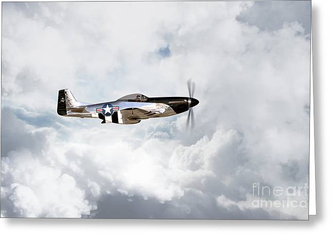 North American P51 Mustang Digital Art Greeting Cards - Quicksilver Greeting Card by J Biggadike