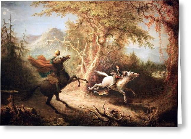 Ichabod Greeting Cards - Quidors The Headless Horseman Pursuing Ichabod Crane Greeting Card by Cora Wandel