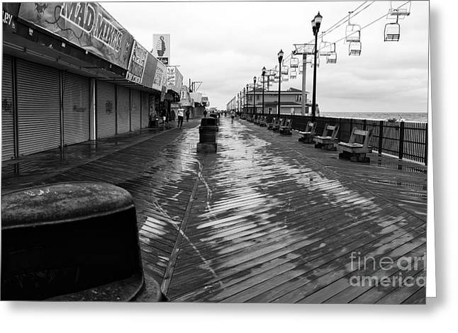 Seaside Heights Greeting Cards - Quiet Boardwalk mono Greeting Card by John Rizzuto