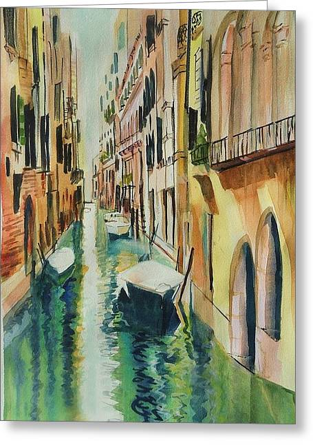 Therese Fowler-bailey Greeting Cards - Quiet Canals of Venice Greeting Card by Therese Fowler-Bailey