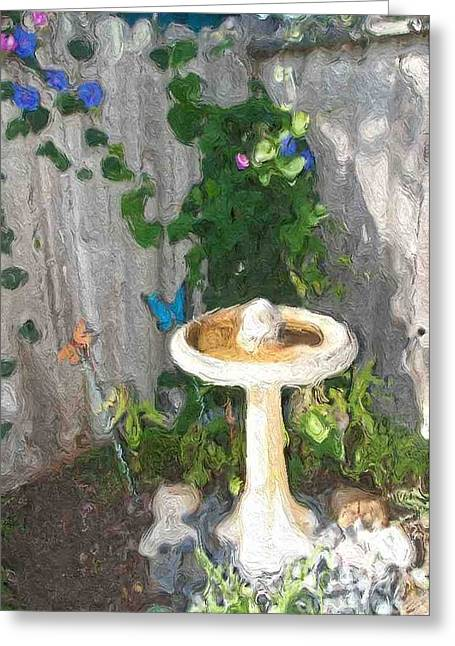 Back Yard Birds Greeting Cards - Quiet  Corner Greeting Card by Alberta Brown Buller