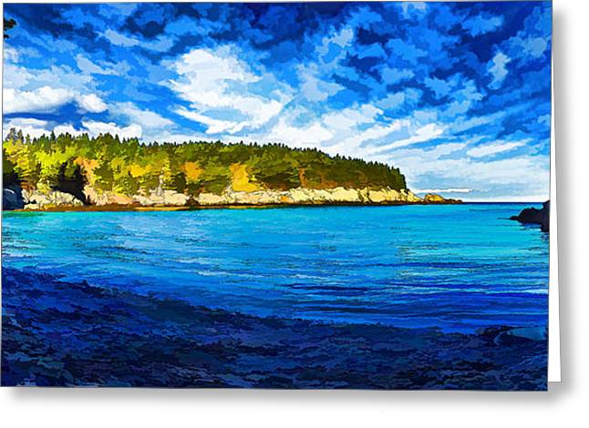 Blue And Green Greeting Cards - Quiet Cove at Cutler - Painterly Greeting Card by Bill Caldwell -        ABeautifulSky Photography