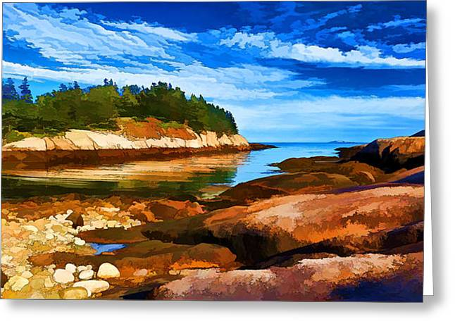 Panoramic Ocean Digital Greeting Cards - Quiet Cove at Great Wass - Painterly Greeting Card by Bill Caldwell -        ABeautifulSky Photography
