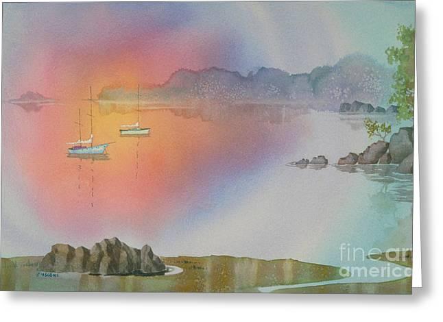Sailboat Ocean Greeting Cards - Quiet Cove Greeting Card by Teresa Ascone