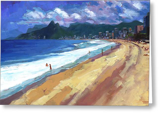 Ipanema Beach Greeting Cards - Quiet Day at Ipanema Beach Greeting Card by Douglas Simonson