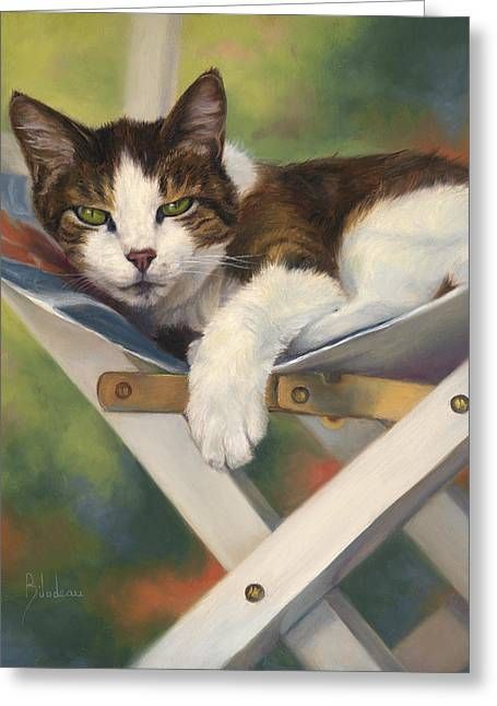 Domestic Cat Greeting Cards - Quiet Day Greeting Card by Lucie Bilodeau