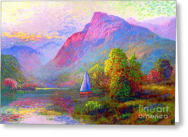 Vibrant Paintings Greeting Cards - Quiet Haven Greeting Card by Jane Small