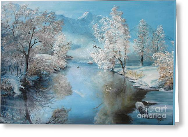 Winter Posters Greeting Cards - Quiet Ice  Greeting Card by Sorin Apostolescu