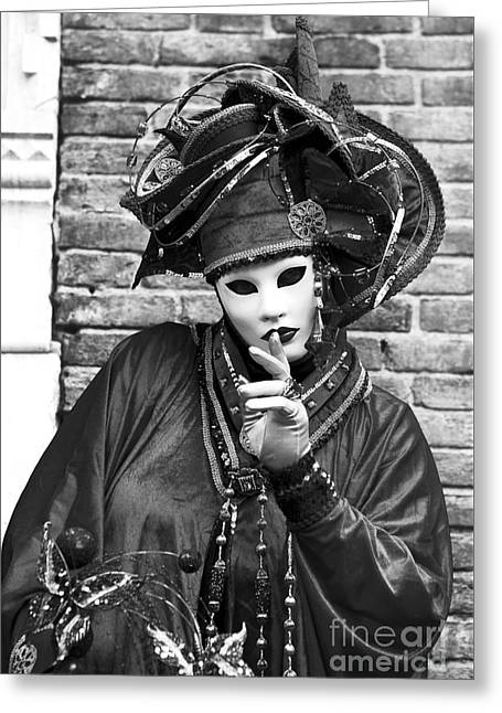 Female Mask Greeting Cards - Quiet Greeting Card by John Rizzuto