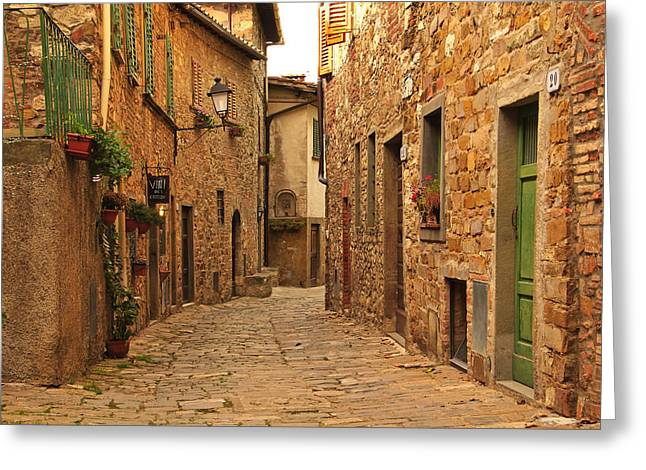 Chianti Greeting Cards - Quiet Lane In a Chianti Hilltown Greeting Card by Greg Matchick