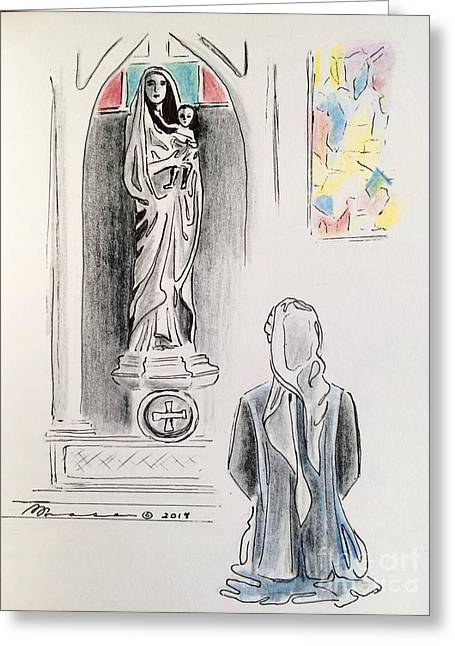 Reverence Drawings Greeting Cards - All Due Respect Greeting Card by Barbara Chase