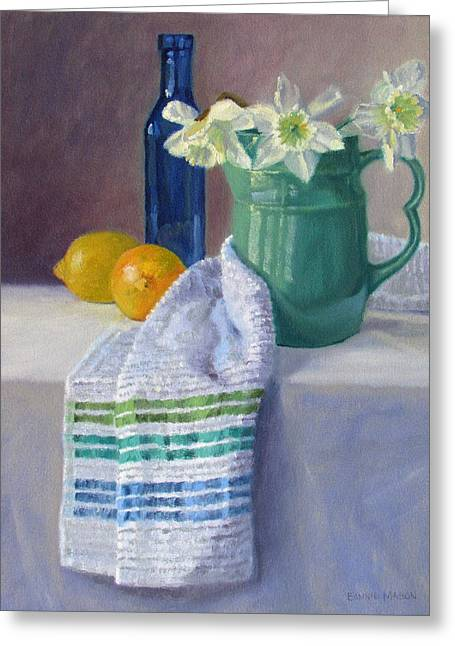 Old Pitcher Greeting Cards - Quiet Moment- Daffodils in a Blue Green Pitcher with Lemons Greeting Card by Bonnie Mason
