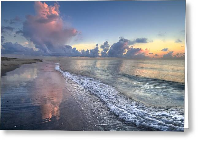Oceanscape Greeting Cards - Quiet Morning Greeting Card by Debra and Dave Vanderlaan