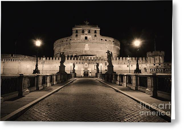 Night Angel Greeting Cards - Quiet Night at Castle Sant Angelo Greeting Card by George Oze