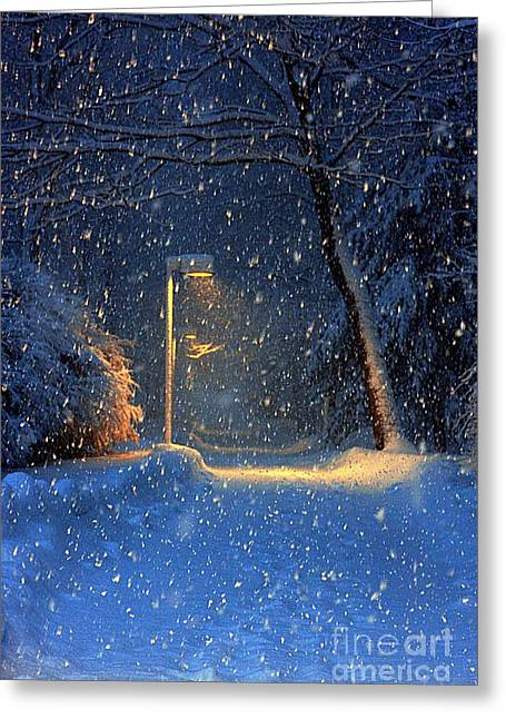 Snowy Night Night Greeting Cards - Quiet Night In Winter Greeting Card by Marcia Lee Jones