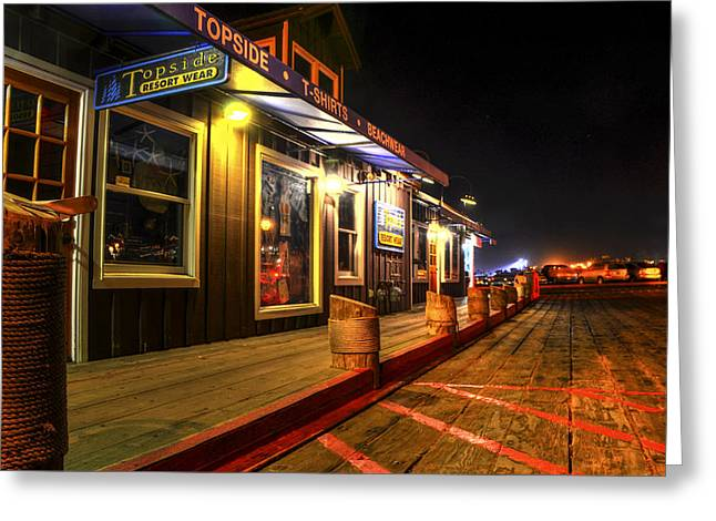 Stearns Wharf Greeting Cards - Quiet Night Greeting Card by Marta Cavazos-Hernandez