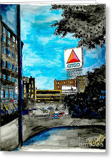 Boston Red Sox Paintings Greeting Cards - Quiet Night Outside of Fenway Greeting Card by Rob Monte