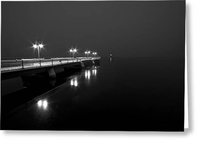 Snowy Night Night Greeting Cards - Quiet Pier Greeting Card by Mike Horvath
