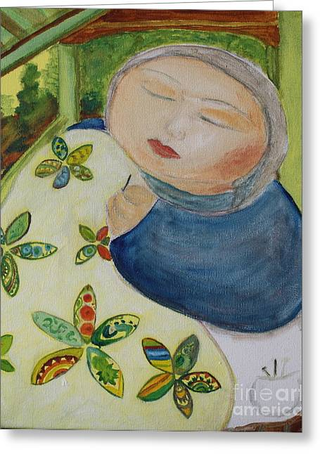 Teresa Hutto Greeting Cards - Quiet Quilter Greeting Card by Teresa Hutto