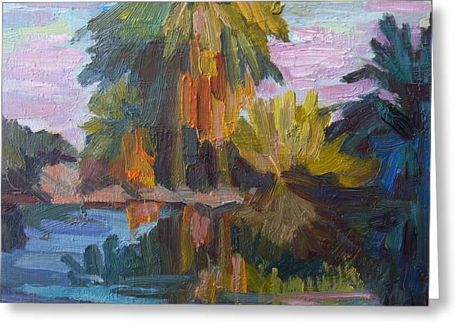Desert Lake Paintings Greeting Cards - Quiet Reflections Greeting Card by Diane McClary