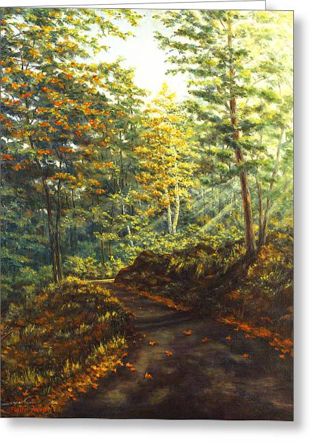 Canvas On Board Greeting Cards - Quiet Road III Greeting Card by Elaine Farmer