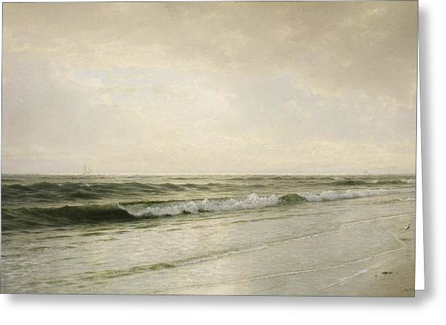 Calm Paintings Greeting Cards - Quiet Seascape Greeting Card by William Trost Richards