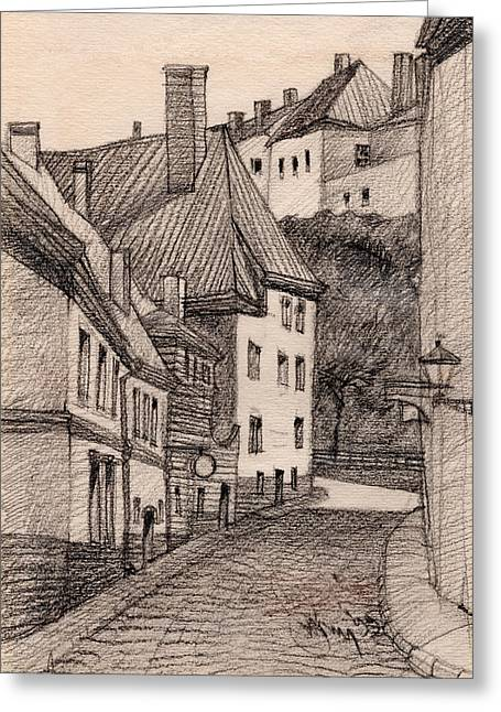 Urban Buildings Drawings Greeting Cards - Quiet Greeting Card by Serge Yudin
