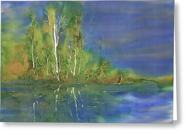 Trees Tapestries - Textiles Greeting Cards - Quiet Stream  Greeting Card by Carolyn Doe