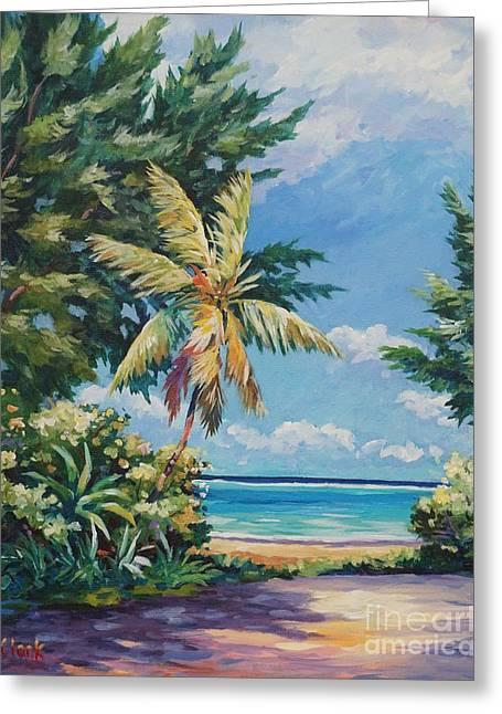 Caribbean Sea Art Greeting Cards - Quiet Stretch of Beach Greeting Card by John Clark