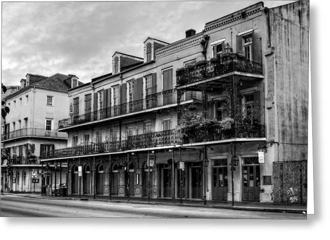 Quiet Time Greeting Cards - Quiet Time On Decatur Street in Black and White Greeting Card by Chrystal Mimbs