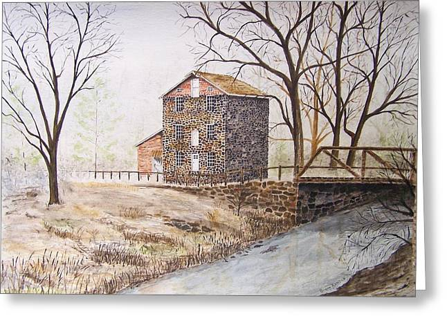 Old Feed Mills Paintings Greeting Cards - Quiet Times Greeting Card by Peter Kundra