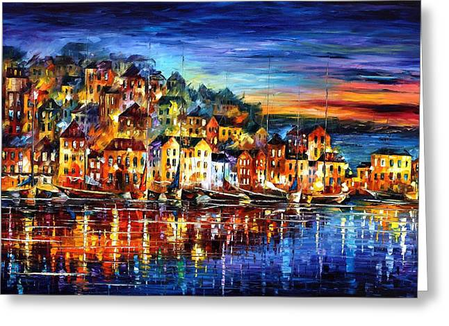 Winter Night Greeting Cards - Quiet Town - PALETTE KNIFE Cityscape Oil Painting On Canvas By Leonid Afremov Greeting Card by Leonid Afremov