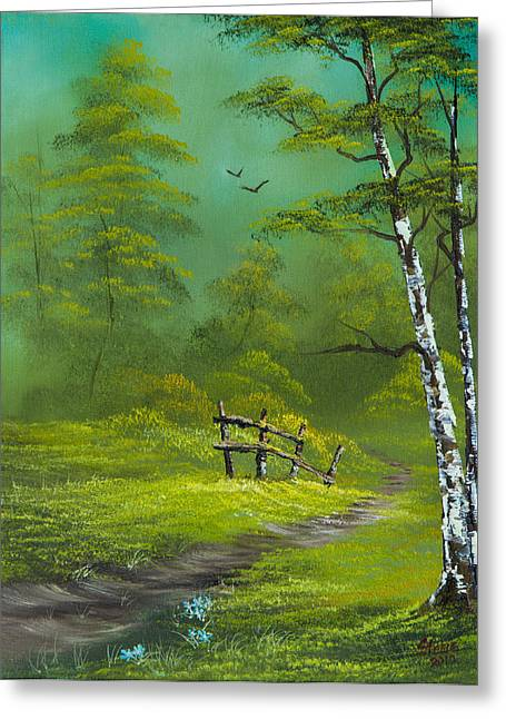 Bob Ross Paintings Greeting Cards - Quiet Trail Greeting Card by C Steele