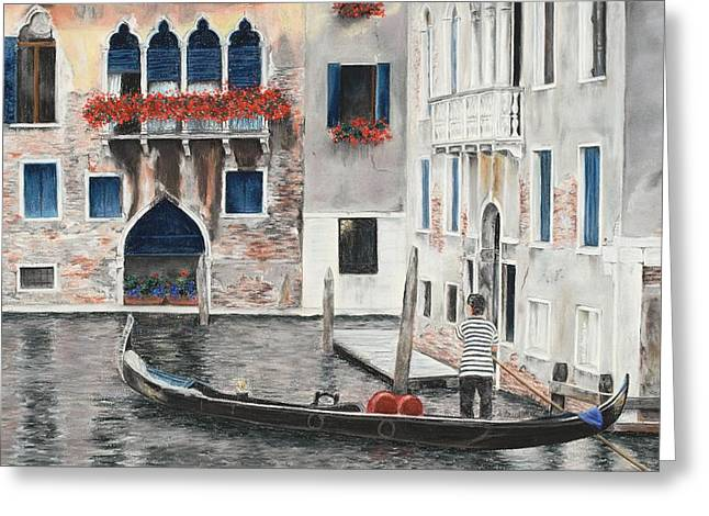 Gondolier Pastels Greeting Cards - Quiet Venice Morning Greeting Card by Angela Bruskotter