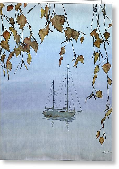 Golds Tapestries - Textiles Greeting Cards - Quiet Water Greeting Card by Carolyn Doe