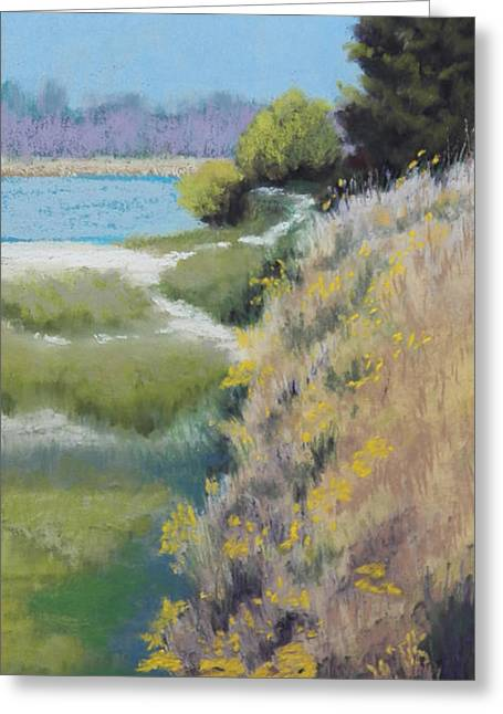 Oregon Pastels Greeting Cards - Quiet Water Greeting Card by Rosemarie Caffarelli